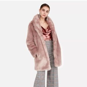 Express faux fur coat pale ivory pink